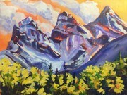 Canmore's Three Sisters; 15 X 11 inches, acrylic on paper