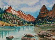 Cascade Lakes, Opabin Plateau, Yoho National Park; 15 x 11 inches, watercolour