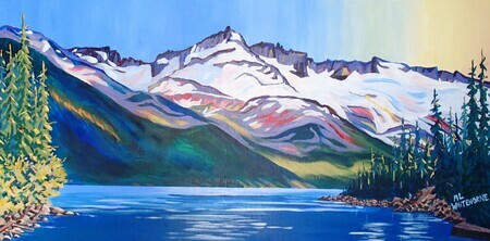 Garibaldi Evening, 30 x 15 inches, acrylic