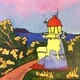 Grassy Hill Lighthouse at Cooktown, Queensland, Australia; 10 X 10 inches, acrylic on canvas