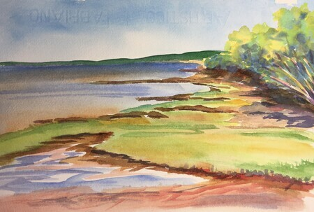 Mid Tide on Cobequid Bay; 8 X 10, plein air watercolour