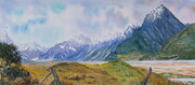 Tasman River Valley, New Zealand, 22 x 11 inches, watercolour