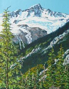 Mt. Bonnie and Bonnie Glacier, Glacier National Park, 12 x 16 inches, acrylic