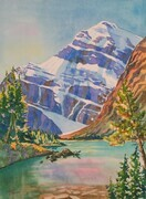 Mt. Edith Cavell and Cavell Lake, Jasper National Park, 11 x 15 inches, watercolour