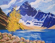 Lyle's Larch, Lake McArthur, Yoho National Park, 18 x 14 inches, acrylic