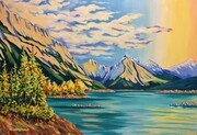 Medicine Lake, Jasper National Park; 40 x 28 inches, acrylic