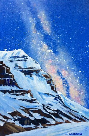 Mount Andromeda meets the Milky Way; 12 X 18 inches; acrylic on Canvas