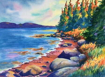 Newman Sound, Terra Nova National Park, NL; 15 x 11 inches, watercolour