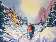 September Snow on the East Opabin Trail; 15 X 11 inches, watercolour