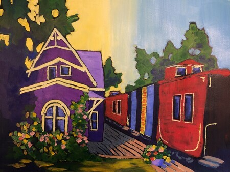 Train Station Inn, Tatamagouche, NS; 15 X 11 inches, acrylic on paper