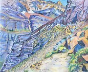 Yukness Ledges Alpine Route; 17 X 14 inches, ink & coloured pencil